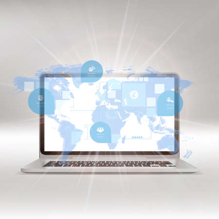 Laptop with World map on screen. Vector illustration. Vector