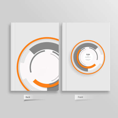 business book: Flyer back and front design template with white circles