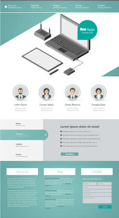 submenu: One page website design template Illustration