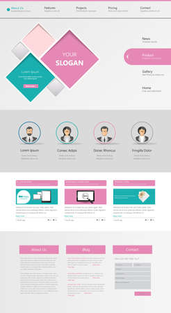 One page website design template Illustration