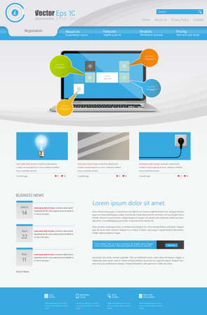 webtemplate: Business Website Design Template illustration. One page style.