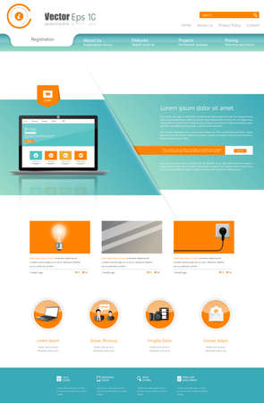 submenu: Business Website Design Template Vector illustration. One page style.