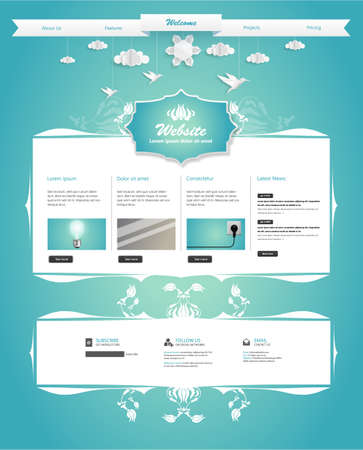 creativ: Creative Website Template with Hanging Ornament Origami Birds Clouds.