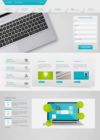 Futuristic Clean Website Template. Vector illustration. Vector