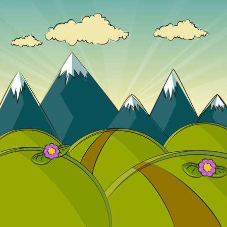 mountain view: Modern Landscape illustration draw designconceptual Illustration