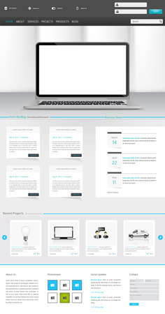 Clean Modern One page website design template. All in one set for website design includes harm one page website template with Tablet in Hand realistic illustration. Vector