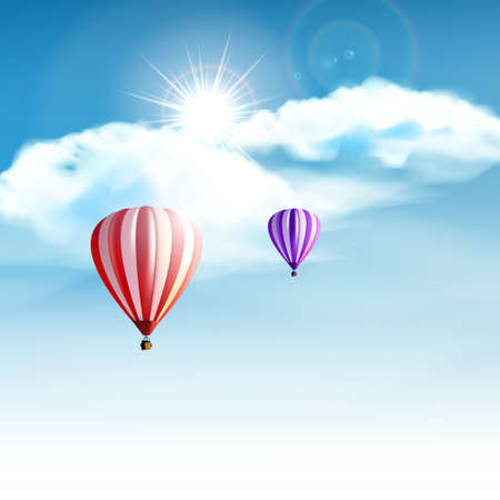 hopeful: Hotair balloons in the cloudy blue sky. Realistic Vector illustration not TRAC Illustration