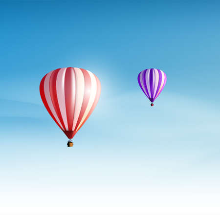 ballooning: Hotair balloons in the cloudy blue sky. Realistic Vector illustration