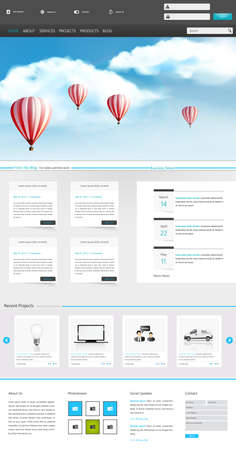 One Page Website Design for Your Business realistic illustration with hot air balloons. Vector  Vector