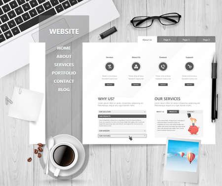 website design: Creative Professional Website Design Template Theme Desk Office.