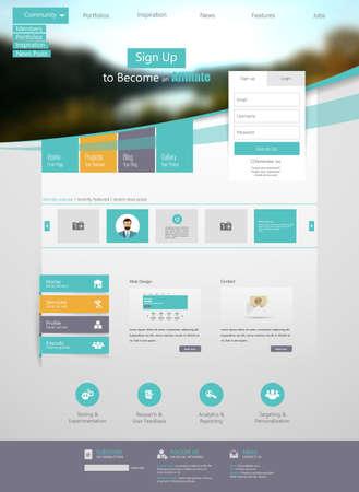 sjabloon: Flat Web Design elementen. Sjablonen voor uw website.