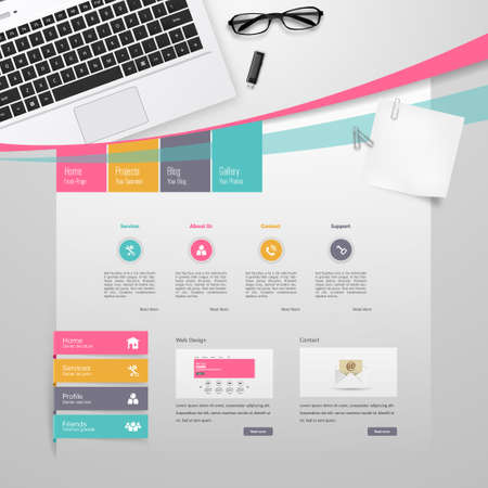 Colorful Website Template Design Vector