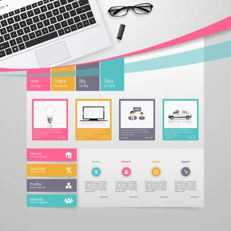 Colorful Website Template Design Vector