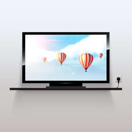 Vector lcd monitor with beautiful fantasy background Vector