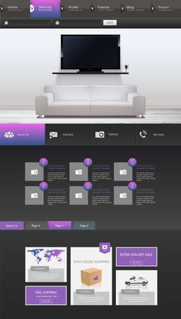 One page website design template. All in one set for website design includes harm one page website templates Illustration
