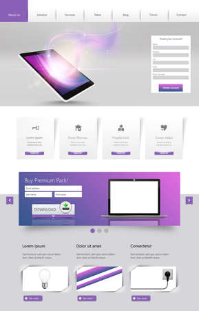 Modern One Page Website template design Vector