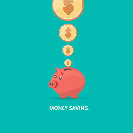 money box: Pig Money Box Flat Vector Illustration.