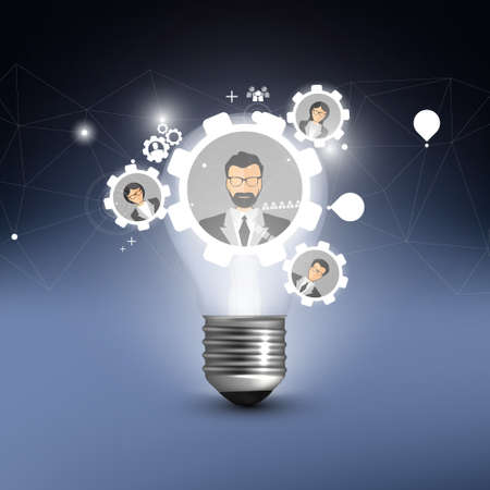 Business Background Light Bulb with teamwork elements. Vector Illustration. Vector