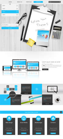 Modern One Page Website Template with Photorealistic Vector Objects. Workplace Still Life. Can you use Responsive Website for Touchscreen Devices.
