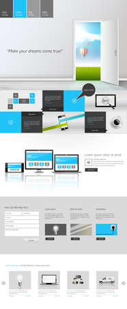 dreamland: Modern One Page Website Template Responsive Website Can be use for Touchscreen Devices. With open door to Dreamland Vector illustration.