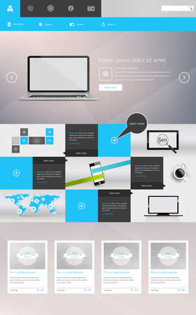 Modern One Page Website Template Responsive Website Can be use for Touchscreen Devices. Vector