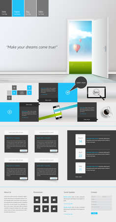 One Page Website Design Template Vector Eps 10 Vector