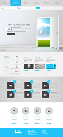 website template: One Page Website Design Template Vector Eps 10
