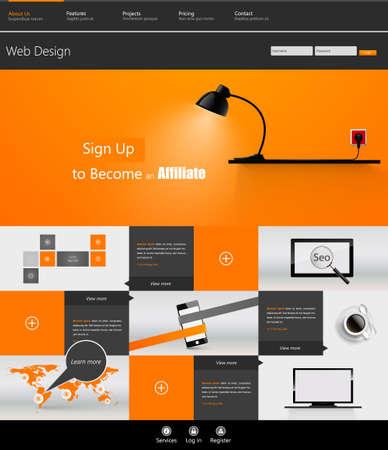 Orange Colored Tempalte Business Website Design. Eps 10 Vector