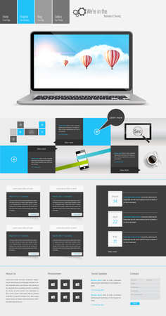 Modern One Page Website Template Responsive Website Can be use for Touchscreen Devices. Open your laptop and Blue sky with hot air ballons illustration. Vector