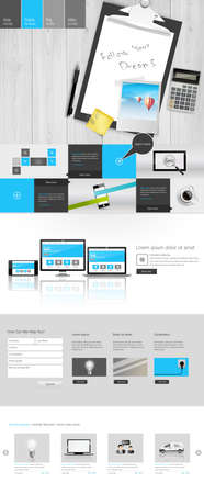 Modern One Page Website Template with Photorealistic Vector Objects. Workplace Still Life. Can you use Responsive Website for Touchscreen Devices. Vector