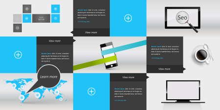 responsive design: Responsive Design Template Menu Illustration