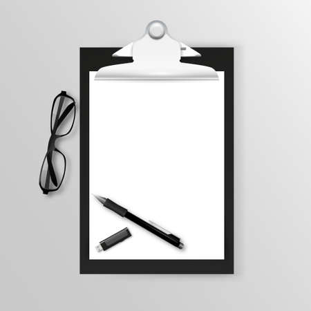 sheet of paper: plastic clipboard with blank sheet paper and pen isolated on white Illustration
