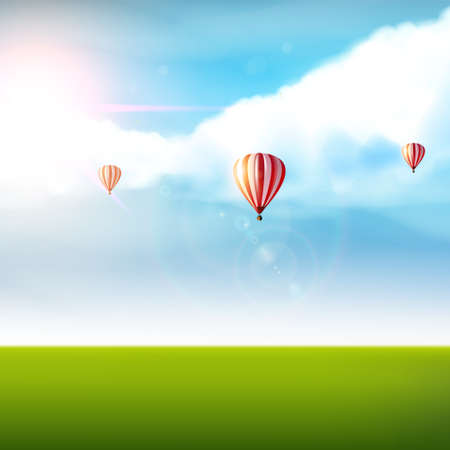 travel concept: Cloudy blue sky with colorful air balloons and greenland. Vector photorealistic not TRAC