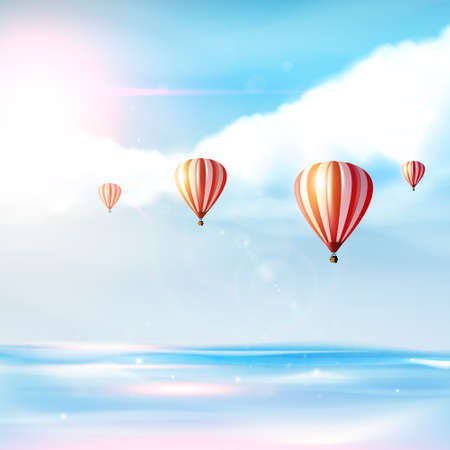 Beach and tropical sea with bright sun and blue sky on a hot air balloon. Vector photorealistic not TRAC