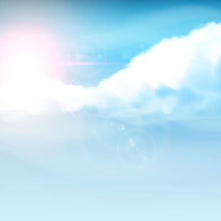 hopeful: Cloudy blue sky with not Traci sunrise Realistic Vector illustration