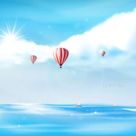 Beach and tropical sea with bright sun and blue sky on a hot airballoon. Vector photorealistic not TRAC Vector