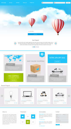website template: One Page Website Design for Your Business realistic illustration with hot air balloons.