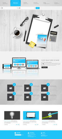 website layout: Modern One Page Website Template Responsive Website Can be use for Touchscreen Devices. With open door to Dreamland Vector illustration.