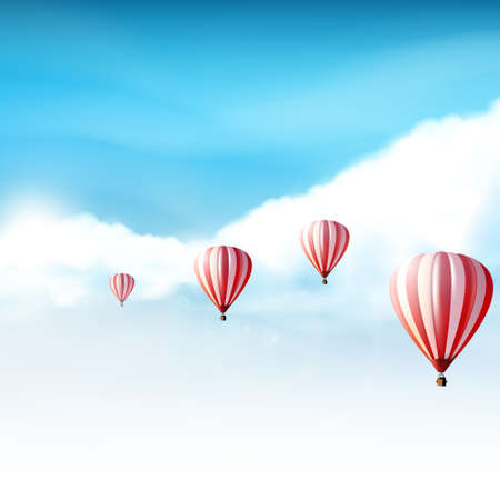 Hotair balloons in the cloudy blue sky Realistic Vector illustration not TRAC