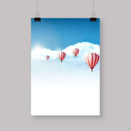 hopeful: Flyer Design Hotair balloons in the cloudy blue sky Realistic Vector illustration not TRAC Illustration
