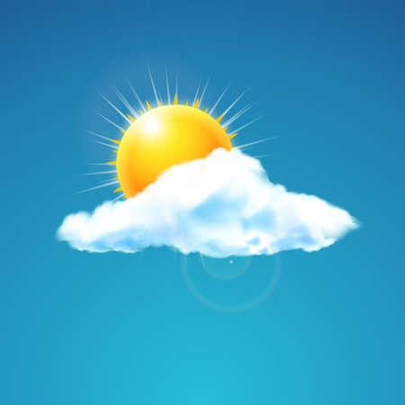 estado del tiempo: Ilustración del vector del icono del tiempo - la nube con el sol en los flotadores cielo Vectores