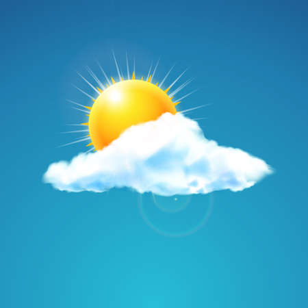 warm weather: Vector illustration of weather icon - cloud with sun in the sky Floats