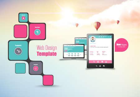 blue button: Multifunctional Media Creative web design. Web interface.
