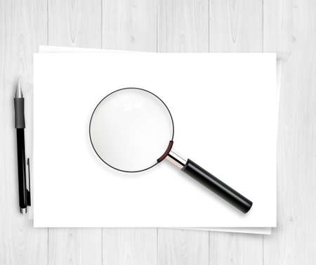 magnifying glass icon: Vector Design Magnifier and paper sheet with a space for your text Illustration