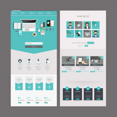 menu buttons: One Page Website Template Designs and Header