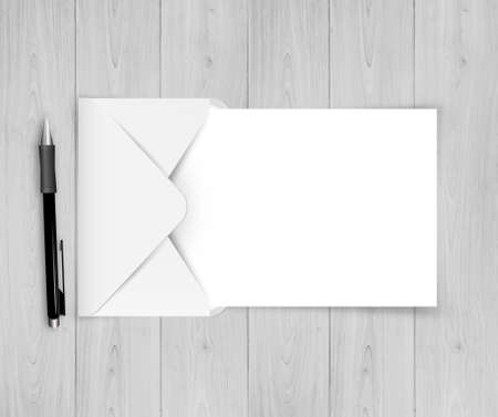 Open Envelope With White Paper With Gradient Mesh, Vector 일러스트