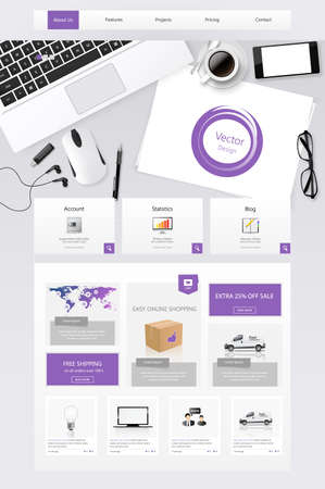office scene: office scene one page website template design elements with stationery Illustration
