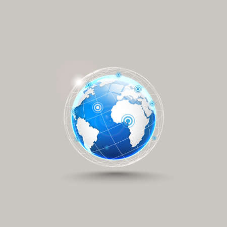 realist: Globe icon, white map of the continents of the world. Illustration