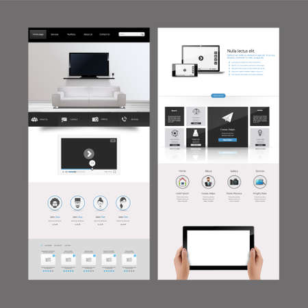 Clean Modern One page website design template. All in one set for website design includes harm one page website template with Tablet in Hand realistic illustration.