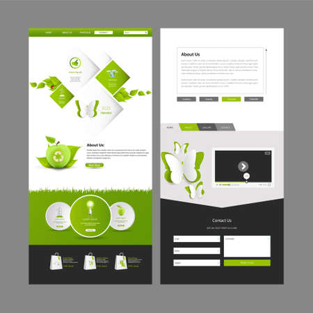 vector web design elements: One Page Website Template Designs and Header